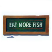 Eat More Fish Hand Painted Vintage Style Sign
