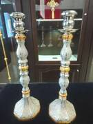 A Pair Of Candlesticks Of Sterling Silver 925. For Altar Holy Table Orthodox