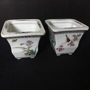 Pair Of Chinese Qing Dynasty Porcelain Planter With Flowers And Birds Decoration