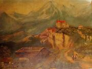 Painting Oil Unknown Artist Castle Mountain People On Path Unsigned Board Poor