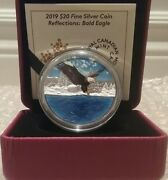 2019 Bald Eagle Reflection Silhouette 20 1oz Pure Silver Proof 38mm Coin Canada