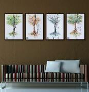 4 Season Trees Set - 30 X 20 Painting - Spring Summer Autumn And Winter