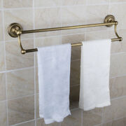 R Bathroom 2 Holes Two Row Towel Bars Antique Brass Rails Wall Mount Assembly