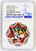 2018 Looney Tunes Christmas Tree Star Shaped 1oz Silver 1 Coin Ngc Pf70 Er