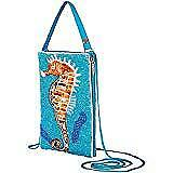 Seahorse Hand Beaded Club Bag With Cross Body Strap And Buttoned Wristlet Strap