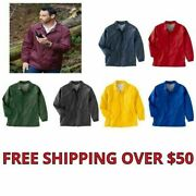 Menand039s Coaches Jacket Wind Breaker Staff Nylon Snap Front 7 Colors S-4xl New