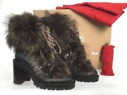 Sz.37 Christian Louboutin Fanny Genuine Fur Black Leather Boot Ankle Booties