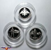 Russia 1 Ruble 2017 Motorized Rifle Troops 3 Silver Coins 1/4 Oz Proof