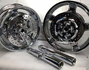 Harley Combo Chrome Wheels Forks And Front Rotors Touring Road King 2009 - 19