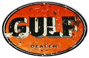 Gulf Motor Oil Reproduction Garage Shop Metal Sign 15x23.5 Oval