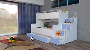 Modern Bedroom Kids Youth Boy Or Girl Double Triple Bunk Bed Storage Mattresses