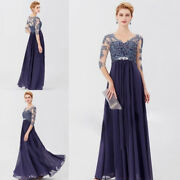 Chiffon V Neck Mother Of The Bride Lace Wedding Long Formal Evening Gowns Custom