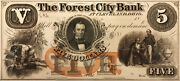 The Forest City Bank Cleveland Ohio 5 Obsolete Proof - Amazing Detail.