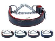 Ace Comfy Half Check Genuine Leather Dog Collar Stainless Steel Chain