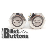 Cutout Open Close Laser Etched Billet Push Buttons 12v Led Car Motorcycle Racing