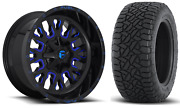 20x10 Fuel D645 Stroke Blue 35 At Wheel And Tire Package 8x180 Chevy Silverado