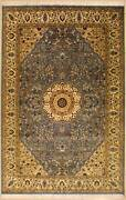 Rugstc 6x9 Senneh Pak Persian Blue Area Rug Hand-knottedfloral With Silk/wool