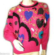 Jaclyn Smith Womens Sweaters Christmas Pullover Knit Sweater L Ugly Fuchsia Pink