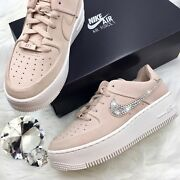 Bling Nike Air Force 1 Sage Xx Low Shoes W/ Crystal Swoosh Particle Bge