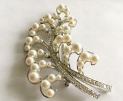 Antique Vintage 18k White Gold Pin With Pearls And Diamonds
