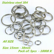 15-38mm Stainless Steel Flat Split Key Ring Fishing Solid Chain Clips 10-10000pc