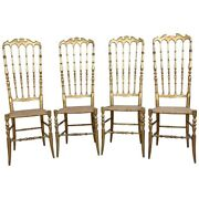 19th Century Italian Set Of Four Turned And Gilded Wooden Famous Chiavari Chairs