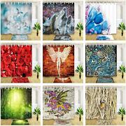 Flower Forest Graffiti Art Polyester Fabric Shower Curtain + Bath Mat Hooks Set