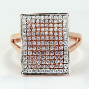 Right Hand Ring Open Book Design 0.71 Tcw Fancy Pink Diamonds And White Diamonds