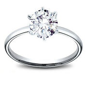 14k Gold 1.03 Ct Round Cut Diamond Solitaire Engagement Ring H Si1