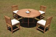 Dsdv A-grade Teak 5pc Dining Set 60 Round Table 4 Armless Chair Outdoor Patio