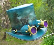 Blue Leather Hand Etched Steampunk / Retro Top Hat / Cosplay Aviator Goggles
