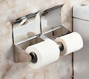 Bathroom Toilet Roll Paper Holder Sus Wall Mount Cover Shelf Chrome Polished Z40