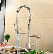 Bathroom Kitchen Tap Spring Spout Swivel Spray Mixer Faucet Brushed Nickel Brass