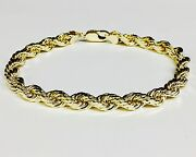 14k Solid Yellow Gold Diamond Cut Rope Link Chain/bracelet 9 8mm 47 Grams