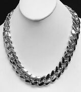 18k Solid White Gold Miami Cuban Curb Link 36 18mm 925 Grams Chain/necklace