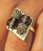 Ring 2 Bee Design Rare And Old Cut Diamonds And Ruby Gorgeous Details-7.7gr-size6.5
