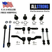 12pcs Suspension Parts Ball Joints Pitman And Idler Arm Sway Bar Links Tie Rod End