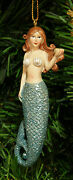 Hand Painted Resin Mermaid W/ Blue Shimmery Tail Christmas Ornament Style 2