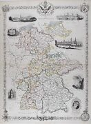 Old Antique Map Germany C1850and039s By Tallis / Rapkin Hand Colour With Views