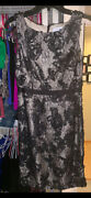 New Calvin Klein Black/nude Lace Dress, Size 4, W/ Textured Flowers, Beautiful