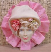 Woman Face Mardi Gras Wall Mask Hanging Pink Rose White Pearls Crowning Touch W1