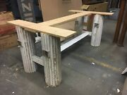 Custom Made Table Base Salvaged Fluted Wood Columns Stretcher Design For 8andrsquo X 4andrsquo