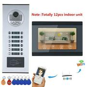Video Door Phone Intercom System Rfid Hd Record Wired Wifi 12 Apartment Family
