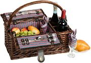 Picnic And Beyond Wicker Picnic Wine Basket For 2 Pb1-3754 16pcs