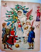 Large 1800's Christmas Die Cut W/ Stunning Angels Handing Out Toys To Children