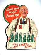 1948 Store Display For 7 Up Soda - Man Holding Wooden Tray Of Glass Bottles