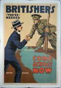1918 Britisherand039s Youand039re Needed Come Across Now Lloyd Myers Wwi Poster Original