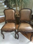 Theodore Alexander Two Hand Carved Wood Brown Leather Nail Head Trim Side Chairs