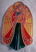 Nice Hallmark 1979 Angel Tree Topper Qx7037 Stained Glass -fast Shipping