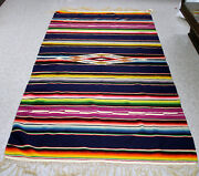 Large Antique Mexican Fringed Blanket Multicolor Diamond Motif 87 X 40